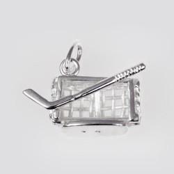 Anhänger Eishockeytor mit Schläger in echt Sterling-Silber 925, Charm, Ketten- oder Bettelarmband-Anhänger