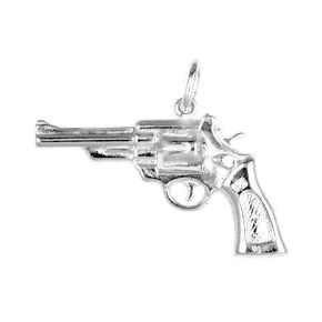 Anhänger Revolver in echt Sterling-Silber 925 und Gold, Ketten- oder Schlüssel-Anhänger