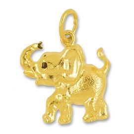 Anhänger Elefant halbplastisch in echt Gelbgold, Charm, Kettenanhänger oder Bettelarmband-Anhänger