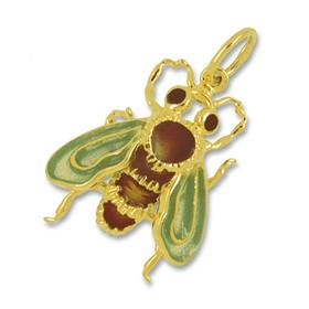 Anhänger Biene in echt Sterling-Silber oder Gelbgold, auch emailliert, Charm, Ketten- oder Bettelarmband-Anhänger