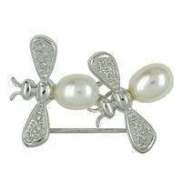 Brosche mit zwei Bienen in echt Weißgold 585 mit Diamanten und zwei Perlen