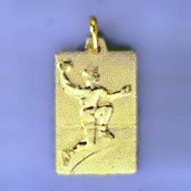 Anhänger Handballspieler, Plättchen in echt Sterling-Silber 925 oder Gold, Charm, Ketten- oder Bettelarmband-Anhänger