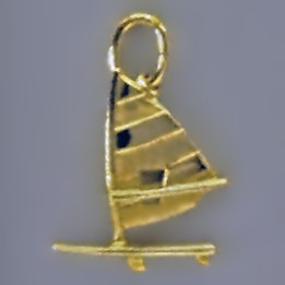 Anhänger Surfbrett mit Rigg in echt Sterling-Silber 925 oder Gold, Charm, Ketten- oder Bettelarmband-Anhänger