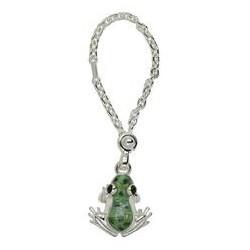 Schlüsselanhänger Frosch in echt Sterling-Silber 925 grün emailliert inklusive Schlüsselkette