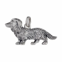 Anhänger Langhaar-Dackel, Hund in echt Sterling-Silber 925 oder Gold, Ketten- oder Schlüssel-Anhänger