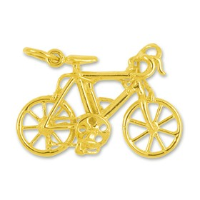 Anhänger Rennrad, Fahrrad in echt Sterling-Silber 925 oder Gold, Charm, Ketten- oder Bettelarmband-Anhänger