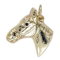 Anhänger Pferdekopf in echt Gelbgold 375, 585 oder 750, Charm, Ketten- oder Bettelarmband-Anhänger