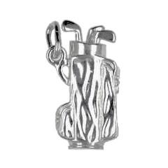 Anhänger Golftasche, Golfbag, Golfsack in echt Sterling-Silber 925, Charm, Ketten- oder Bettelarmband-Anhänger