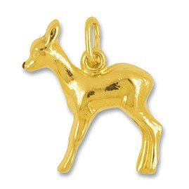 Anhänger Bambi in echt Gelbgold, Charm N1118, Kettenanhänger oder Bettelarmband-Anhänger