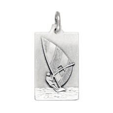 Anhänger Windsurfer, Plättchen in echt Sterling-Silber 925 und Gold, Ketten- oder Schlüssel-Anhänger