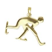 Anhänger Eishockeyspieler in echt Sterling-Silber 925 oder Gelbgold, Ketten- oder Schlüssel-Anhänger