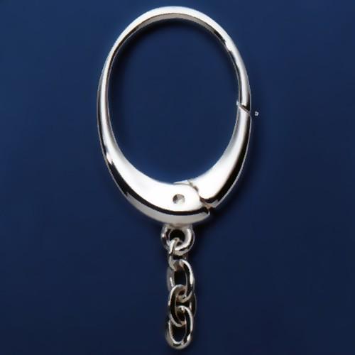 Schlüsselring-Karabiner oval mit Ankerkette & Schnappverschluss, Schlüsselmechanik in Sterling-Silber 925, Gelbgold 333, 585 oder 750 für Anhänger