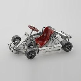 Zierfigur Go-Kart in echt Sterling-Silber 925 lackiert, Miniatur, Standmodell
