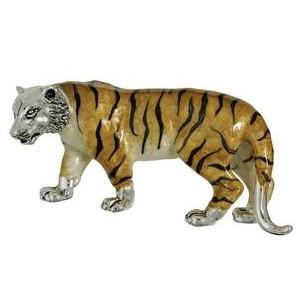 Zierfigur Tiger in echt Sterling-Silber 925 emailliert, Standmodell