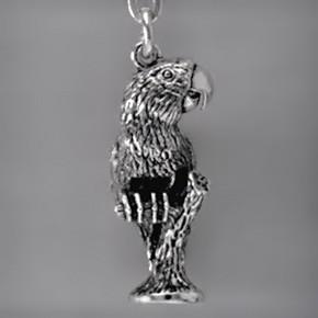 Anhänger Papagei in Sterling-Silber 925 oder Gold, Ketten- oder Schlüssel-Anhänger