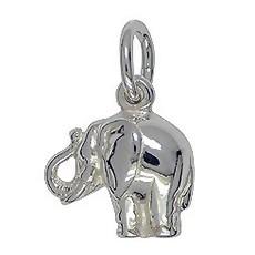 Anhänger Elefant in echt Sterling-Silber 925 weiß oder Gelbgold, Charm, Kettenanhänger oder Bettelarmband-Anhänger