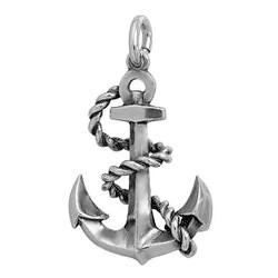 Anhänger Anker mit Tau in echt Sterling-Silber 925 oder Gold, Ketten- oder Schlüssel-Anhänger