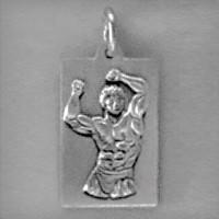 Anhänger Bodybuilder, Plättchen in echt Sterling-Silber 925 oder Gold, Ketten- oder Schlüssel-Anhänger