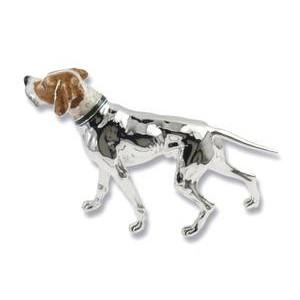 Zierfigur Jagdhund in echt Sterling-Silber 925 emailliert, Standmodell