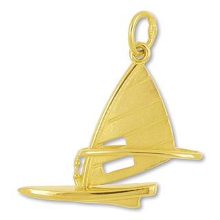 Anhänger Windsurfbrett in echt Sterling-Silber 925 oder Gold, Charm, Ketten- oder Bettelarmband-Anhänger
