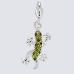Anhänger Eidechse, Salamander, Gecko in echt Sterling-Silber 925 mit grünen & schwarzen Steinen, Charm mit Karabiner, hochwertiger Ketten- oder Bettelarmband-Ein-/Anhänger