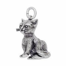 Anhänger Katze in echt Sterling-Silber 925 und Gold, Ketten- oder Schlüssel-Anhänger