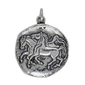 Anhänger Pferde Plakette in echt Sterling-Silber 925 oder Gold, Ketten- oder Schlüssel-Anhänger