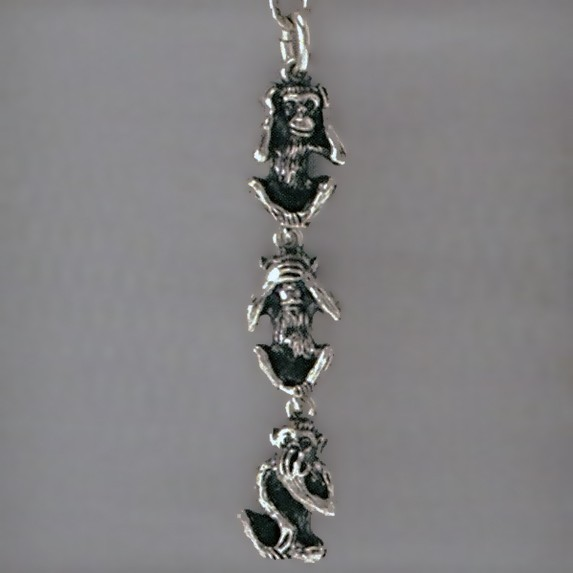 Anhänger 3 Affen, Glücksbringer, Minai, Kikanai, Iwanai, Charm in echt Sterling-Silber 925 oder Gelbgold 333, 585 / 750