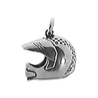 Anhänger Motocross Helm in echt Sterling-Silber 925 und Gold, Ketten- oder Schlüssel-Anhänger