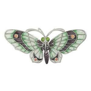 Anhänger oder Brosche Schmetterling, Falter in echt Sterling-Silber 925 emailliert, Ketten- oder Schlüssel-Anhänger