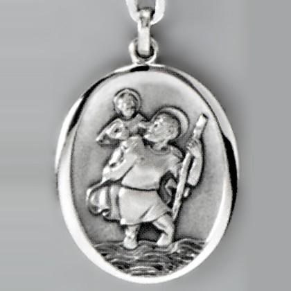 Anhänger Christophorus Medaille in echt Sterling-Silber 925, Ketten- oder Schlüssel-Anhänger