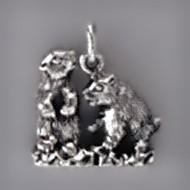 Anhänger Murmeltierpärchen in echt Sterling-Silber 925 oder Gold, Charm, Ketten- oder Bettelarmband-Anhänger