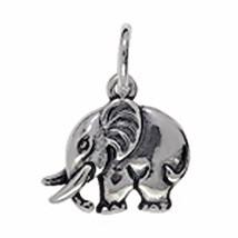 Anhänger Elefant in echt Sterling-Silber oder Gelbgold, Charm, Kettenanhänger oder Bettelarmband-Anhänger, flachplastisch