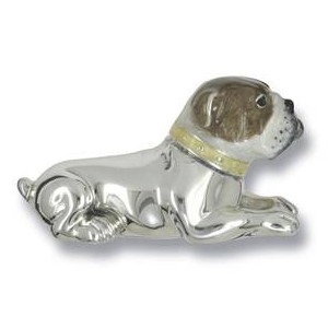 Zierfigur Bulldogge, Hund in echt Sterling-Silber 925 emailliert, Standmodell liegend