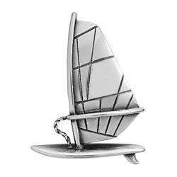 Anhänger Surfboard mit Segel in echt Sterling-Silber 925 und Gold, Ketten- oder Schlüssel-Anhänger