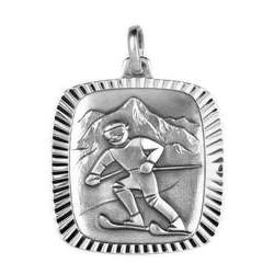 Anhänger Skifahrer in echt Sterling-Silber 925, Ketten- oder Schlüssel-Anhänger