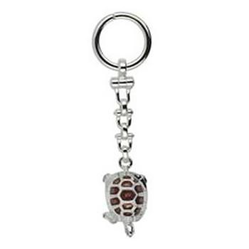 Schlüsselanhänger Schildkröte in echt Silber 925 emailliert inklusive Schlüsselring und Kette