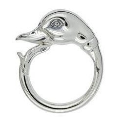 Federring Ente, Schlüsselring mit Schnappverschluss, Schlüsselmechanik in Silber 925/000 für Anhänger