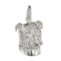 Anhänger Boxerkopf, Hund in echt Sterling-Silber 925 oder Gold, Ketten- oder Schlüssel-Anhänger