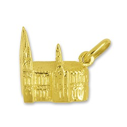 Anhänger Kölner Dom in echt Gold, Charm, Ketten- oder Bettelarmband-Anhänger