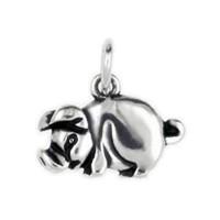 Anhänger Schwein flachplastisch in echt Sterling-Silber 925 oder Gold, Charm, Ketten- oder Bettelarmband-Anhänger