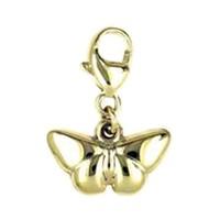 Anhänger Schmetterlinge in echt Gelbgold 333, Charm mit Karabiner, hochwertiger Ketten- oder Bettelarmband-Ein-/Anhänger
