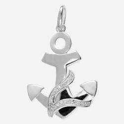 Anhänger Anker in echt Sterling-Silber 925 mit Zirkonia, Ketten- oder Schlüssel-Anhänger