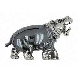 Zierfigur Nilpferd, Flusspferd in echt Sterling-Silber, Standmodell
