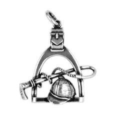 Anhänger Steigbügel mit Gerte / Peitsche, Reithelm / Kappe in echt Sterling-Silber 925 und Gold, Ketten- oder Schlüssel-Anhänger