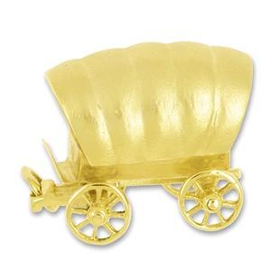 Anhänger Planwagen in echt Gold, Charm, Ketten- oder Bettelarmband-Anhänger