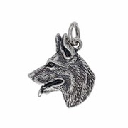 Anhänger Schäferhundkopf in echt Sterling-Silber 925 oder Gold, Charm, Ketten- oder Bettelarmband-Anhänger