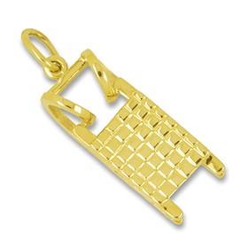 Anhänger Hörnerschlitten in echt Gold, Charm, Ketten- oder Bettelarmband-Anhänger