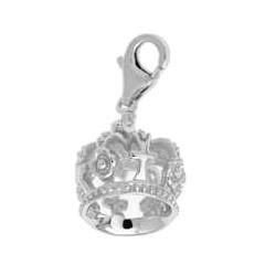 Anhänger Krone in echt Sterling-Silber 925, Charm mit Karabiner, hochwertiger Ketten- oder Bettelarmband-Ein-/Anhänger