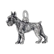 Anhänger Schnauzer, Hund in echt Sterling-Silber 925 oder Gold, Charm, Ketten- oder Bettelarmband-Anhänger